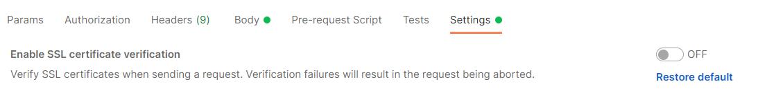 отключить Enable SSL certificate verification