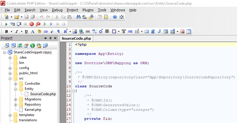 Внешний вид Codelobster IDE