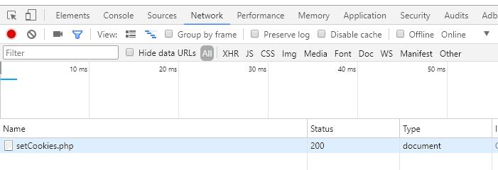 Список запросов в консоли разработчика Google Chrome
